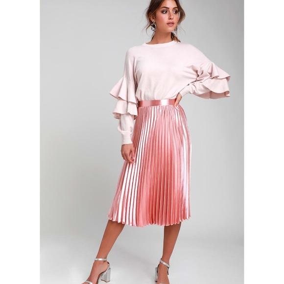e8b58ed72b Lulu's Skirts | Pretty Pleats Blush Pink Metallic Midi Skirt | Poshmark